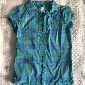 REI Blue Plaid Button-Down